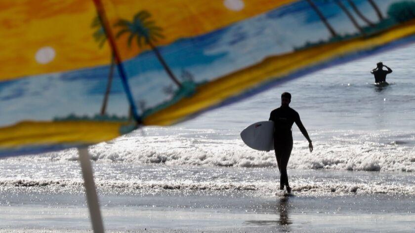 VENICE, CA - DECEMBER 29, 2017 - - With little waves but plenty of sunshine, surfer Aria Zane, 28, c