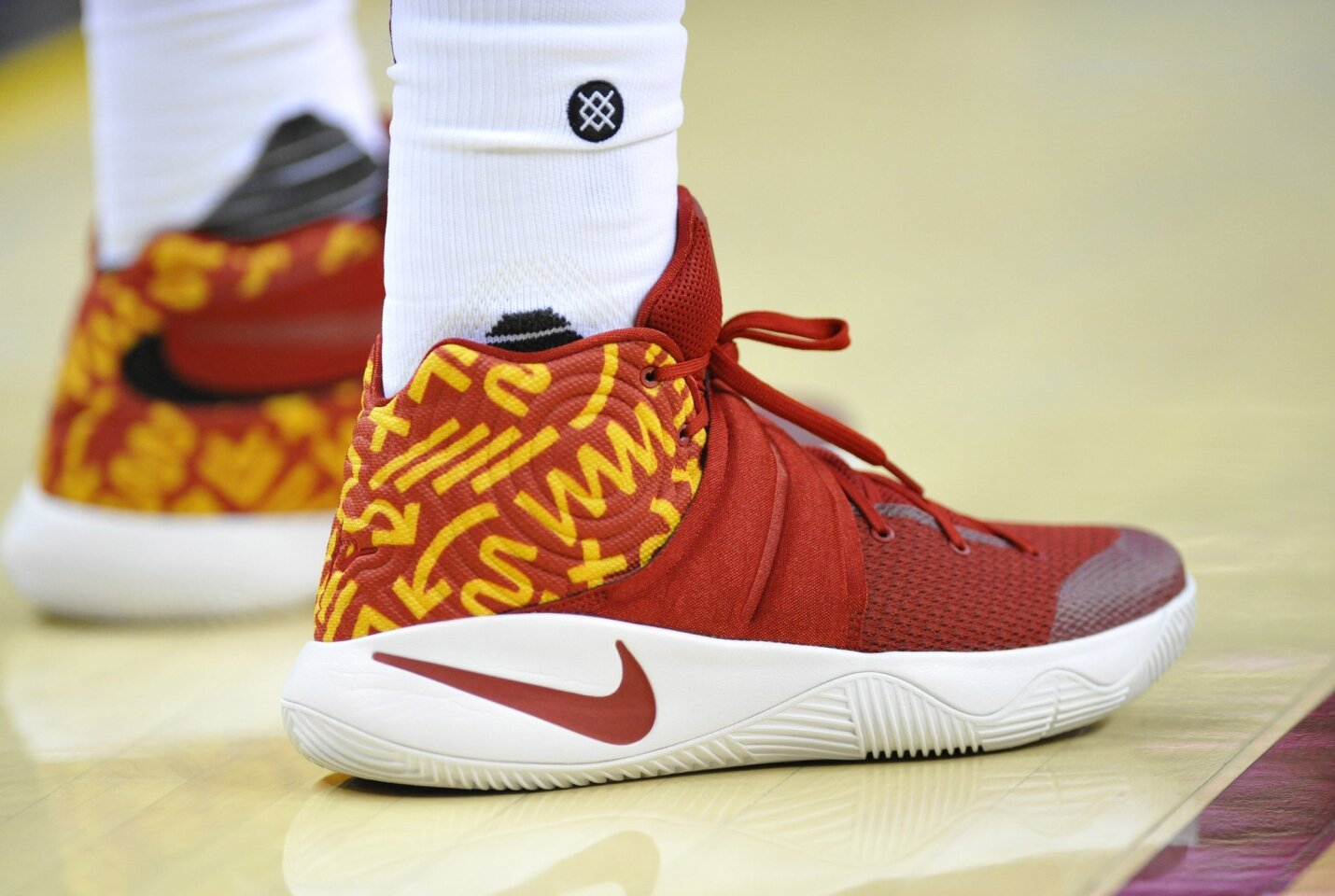 Feb 8, 2016; Cleveland, OH, USA; A general view of the shoes of Cleveland Cavaliers guard Kyrie Irving (2) in the third quarter of a game against the Sacramento Kings at Quicken Loans Arena. Mandatory Credit: David Richard-USA TODAY Sports ** Usable by SD ONLY **