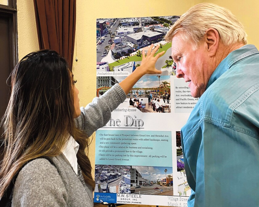 Hotel marketing executive Tracy Ly asks architect Jim Alcorn a question about The Dip, one of the areas included in La Jolla's Village Streetscape Plan.