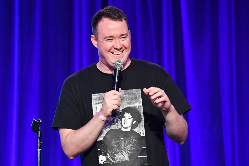 "Shane Gillis, shown performing in San Francisco earlier this year, has been fired by ""SNL."""