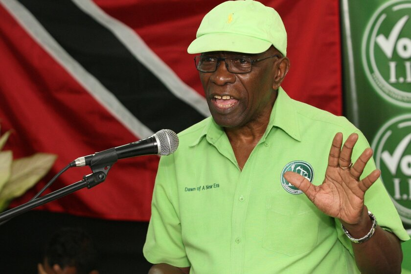 FILE - In this Wednesday, June 3, 2015 file photo, former FIFA vice president Jack Warner speaks at a political rally in Marabella, Trinidad and Tobago. FIFA has banned former VP Jack Warner from football for life on Tuesday, Sept. 29, 2015 in World Cup bidding probe. (AP Photo/Anthony Harris, File)