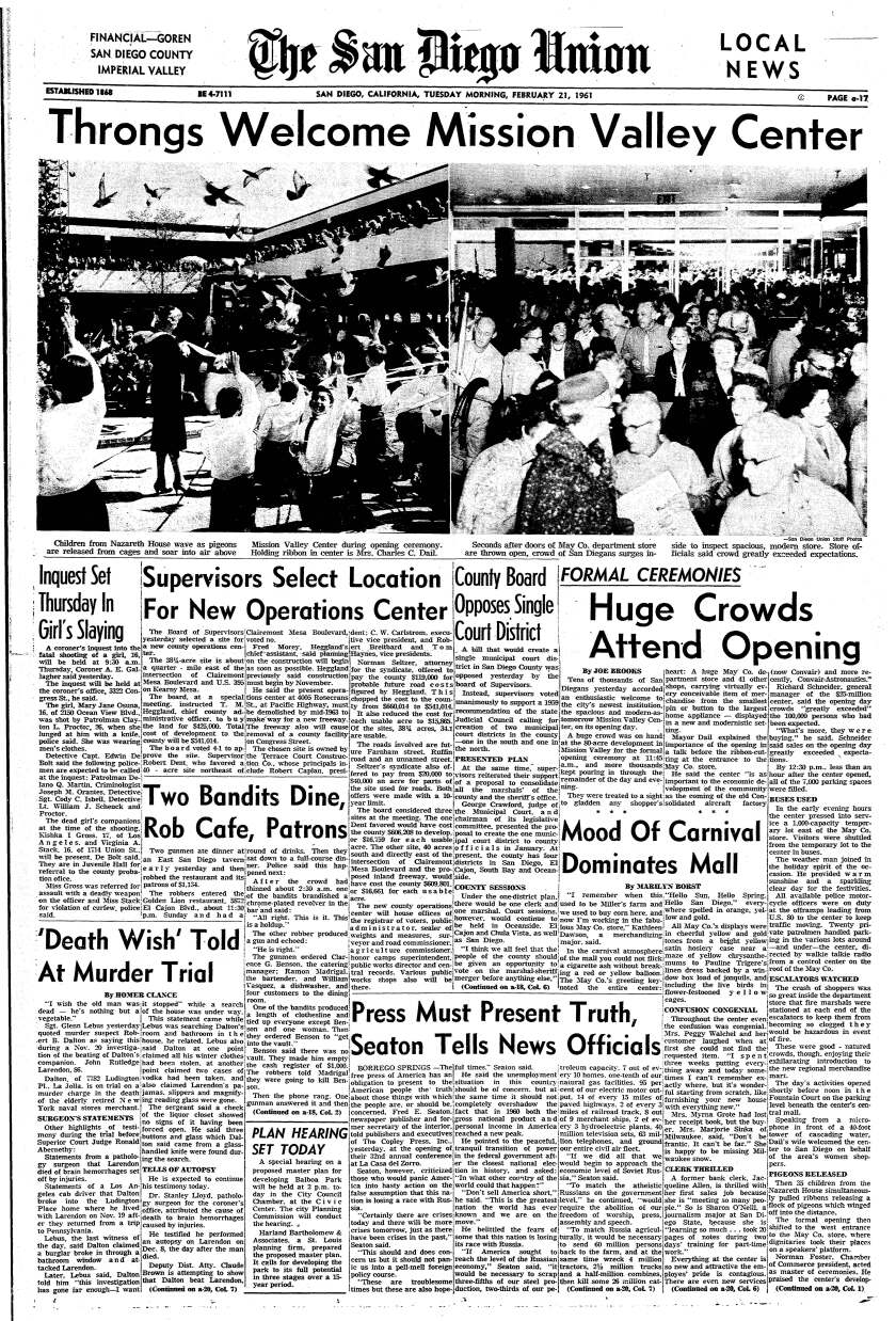 1961 newspaper page with photos and story on Mission Valley Center opening ceremonies