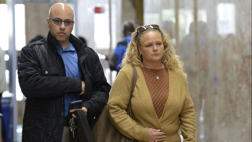 David and Kimberly Gregory, parents of Michela Gregory, a victim in the 2016 Oakland warehouse fire, arrive at court in Oakland in April. David Gregory attends the Ghost Ship trial daily.