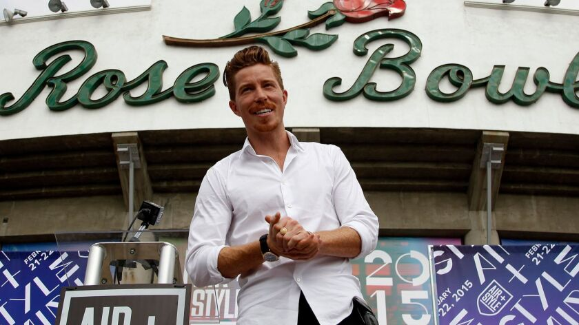 PASADENA, CA - OCTOBER 17, 2014: Olympic champion Shaun White poses for photographers after he annou
