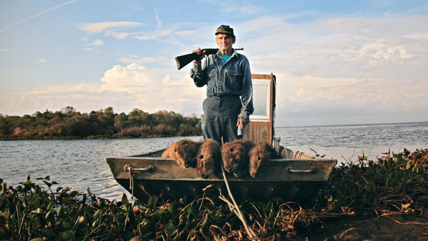 """Thomas Gonzales of Delacroix Island, La., in the documentary """"Rodents of Unusual Size."""""""