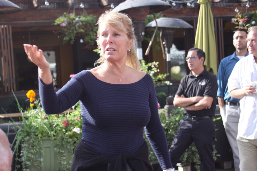 Barbara Beltaire, who organized the sit-in, shares her grievances that the needs of business owners in La Jolla Shores are not being heard or respected.