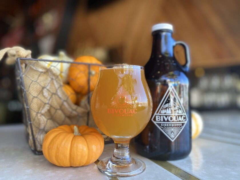 The seasonal Cat's Paw Pumpkin Spice Cider from Bivouac Ciderworks.