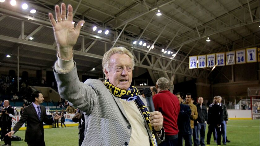 January 7, 2012, Del Mar, California, USA_ Former San Diego Sockers coach Ron Newman acknowledges th