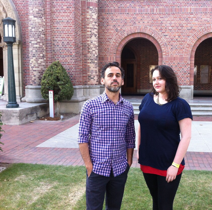 C.P. Heiser and Olivia Taylor Smith of Unnamed Press, at the Los Angeles Times Festival of Books.