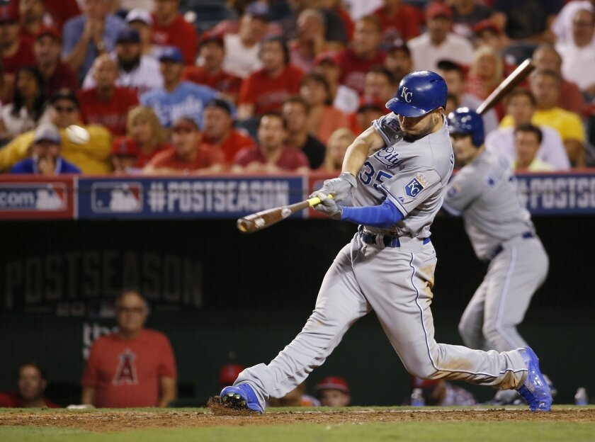 Kansas City Royals' Eric Hosmer hits a two-run home run against the Los Angeles Angels in the 11th inning of Game 2 of baseball's AL Division Series in Anaheim, Calif., Friday, Oct. 3, 2014. (AP Photo/Lenny Ignelzi)