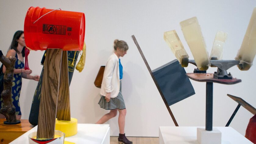 """Harry Dodge's pieces displayed at the Hammer Museum in Westwood as part of the 2014. """"Made in L.A."""" biennial."""