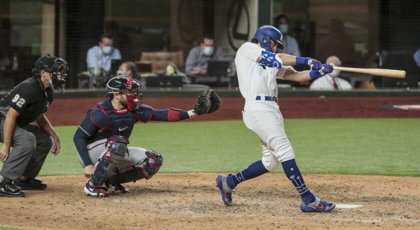Arlington, Texas, Sunday, October 18, 2020. Los Angeles Dodgers center fielder Cody Bellinger.