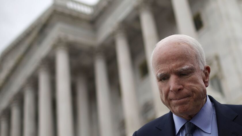 Sen. John McCain, who had surgery to remove a blood clot above his left eye, has been diagnosed with brain cancer.