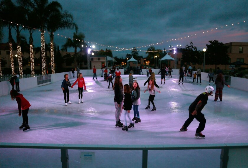 """Friends and families take to the ice at """"Fantasy on Ice"""" in Liberty Station."""