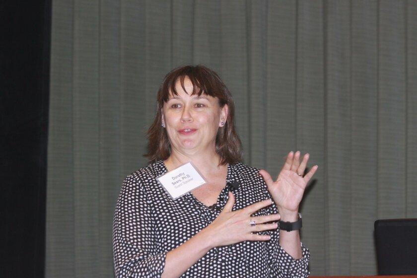 Dr. Dorothy Sears, Associate Professor of Medicine, Division of Endocrinology and Metabolism at UCSD, shares her 'lifestyle interventions,' with guests at the Howell Foundation Luncheon.