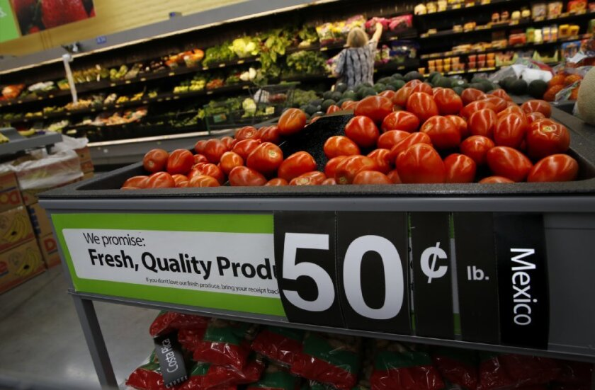 Roma tomatoes from Mexico sit for sale at a Wal-Mart in San Marcos on May 6.