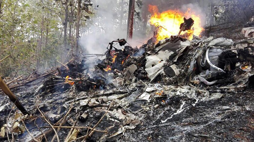 The fuselage of a small plane that crashed in Costa Rica on Dec. 31, 2017.