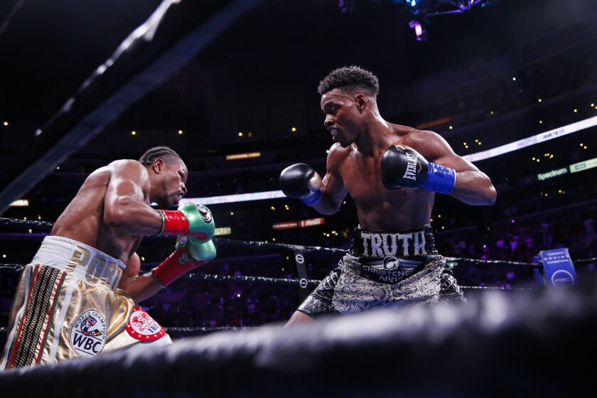 Errol Spence Jr. fights against Shawn Porter during the WBC & IBF World Welterweight Championship.
