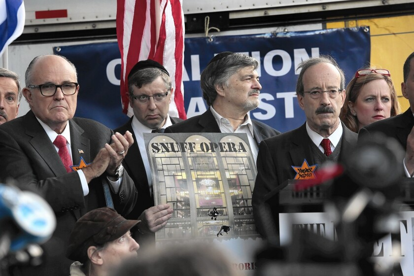 """Former Mayor Rudolph Giuliani, left, was among those opposing """"Klinghoffer."""" at the protest."""