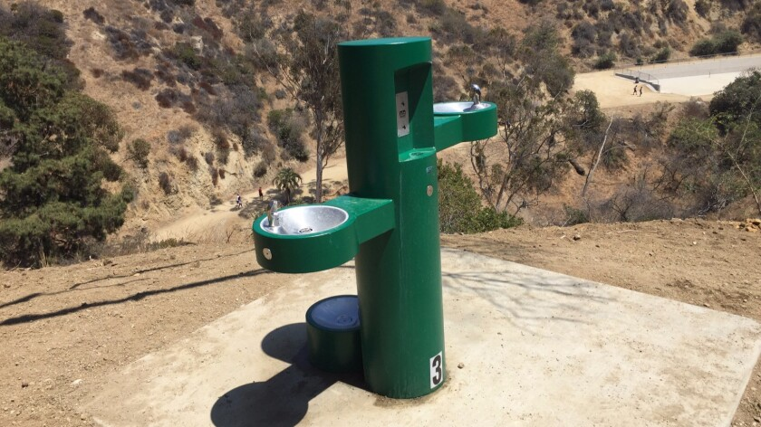 One of the new fountains at Runyon Canyon.