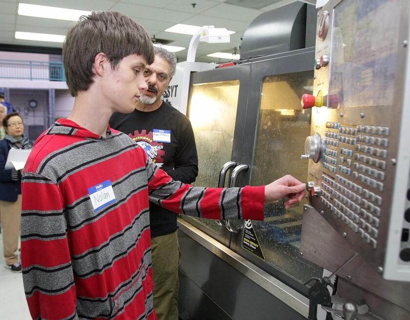 Nolan Askew operated a CNC machine