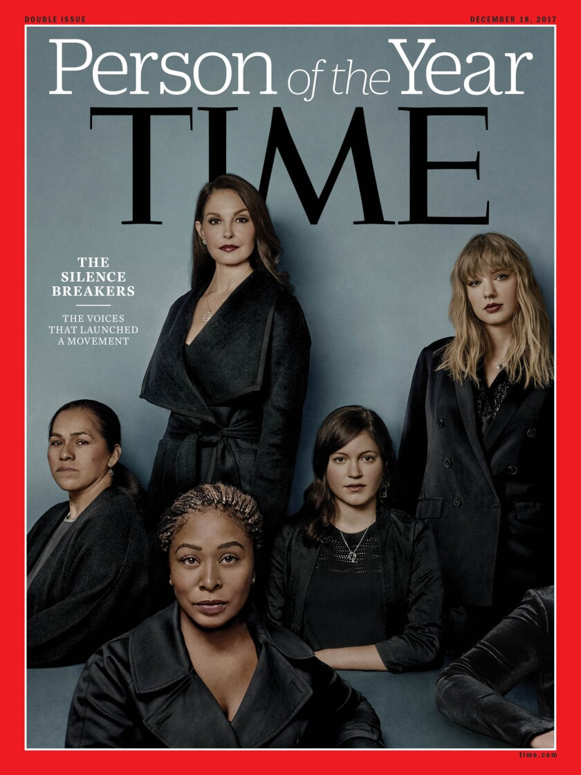 The 2017 Time magazine cover featuring Ashley Judd, Susan Fowler, Adama Iwu, Taylor Swift and Isabel Pascual.