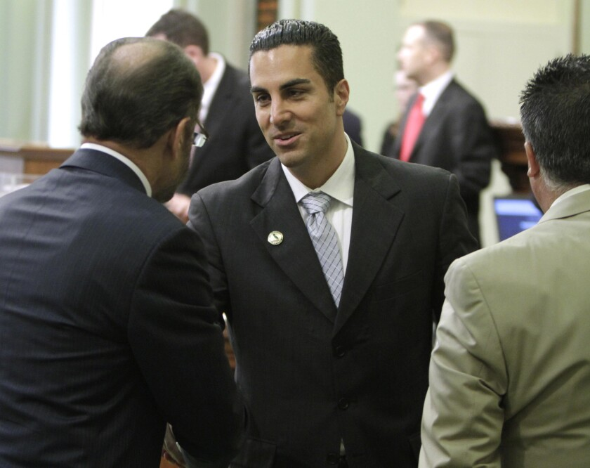 Assemblyman Mike Gatto (D- Los Angeles), center, sponsored a measure seeking a constitutional convention to address issues raised in the Citizens United court decision.