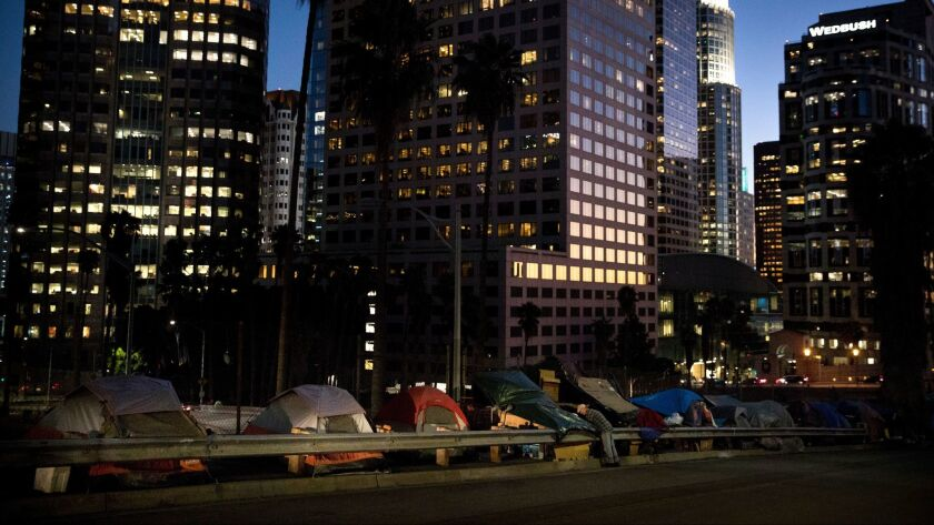 Homeless encampment in downtown Los Angeles