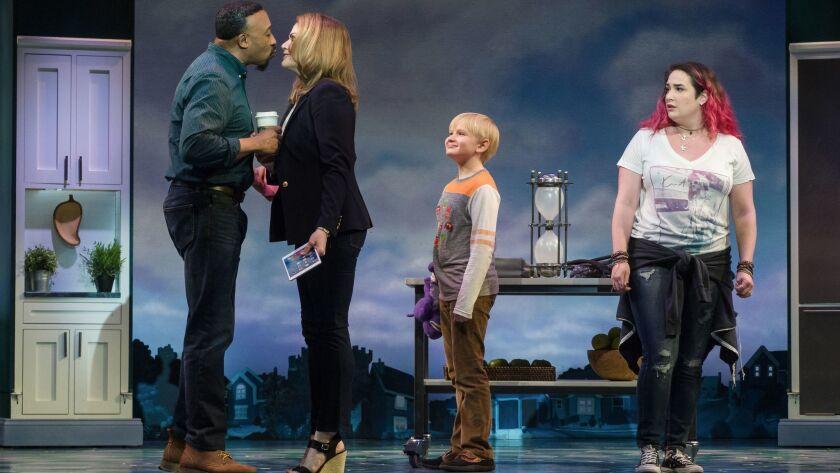 """David Jennings, Heidi Blickenstaff, Jake Heston Miller and Emma Hunton (from left) in """"Freaky Friday."""""""