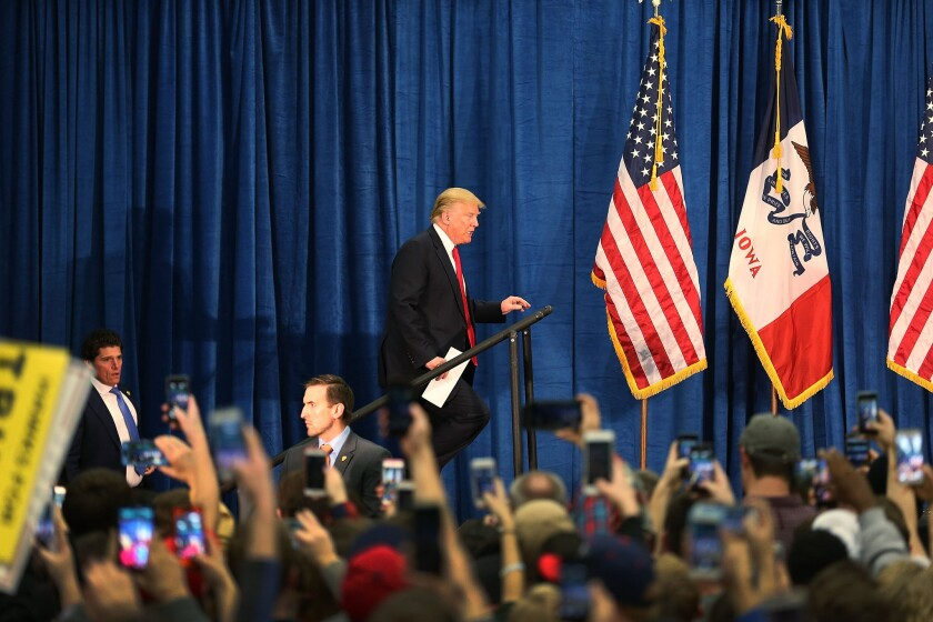 Republican Presidential Candidate Donald Trump Campaigns Throughout Iowa