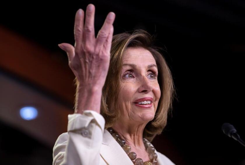<p>Nancy Pelosi informa al Senado mexicano sobre problemas en ratificación del T-MEC</p>