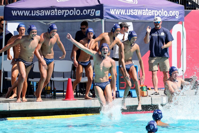 Vanguard Aquatics celebrates after beating San Diego Shores in the USA Water Polo Junior Olympics 16U title match.