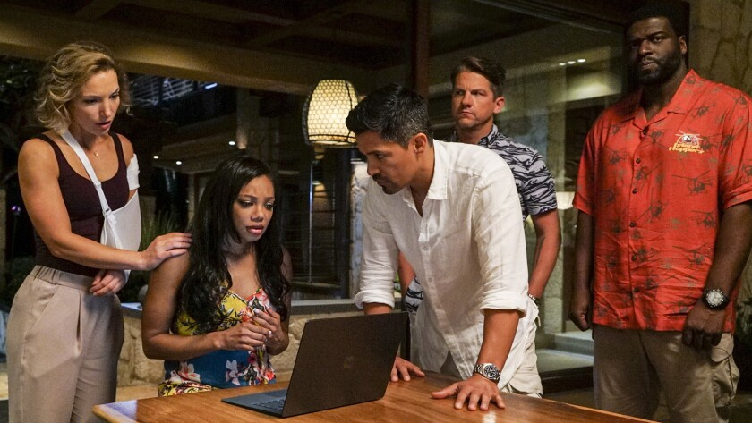 "Perdita Weeks, Tiffany Hines, Jay Hernandez, Zachary Knighton and Stephen Hill in ""Magnum P.I."" on CBS."