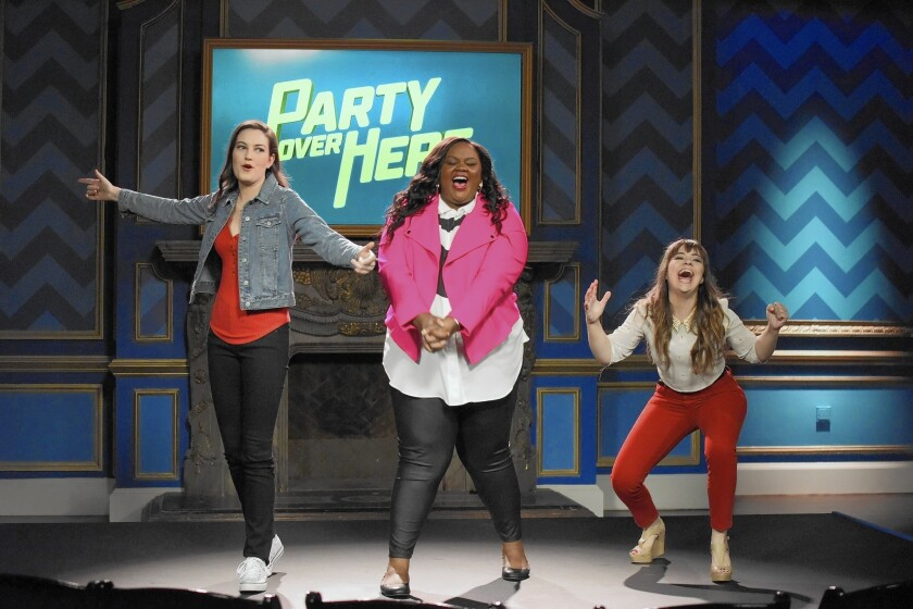 """The """"Party Over Here"""" trio are, from left, Jessica McKenna, Nicole Byer and Alison Rich."""