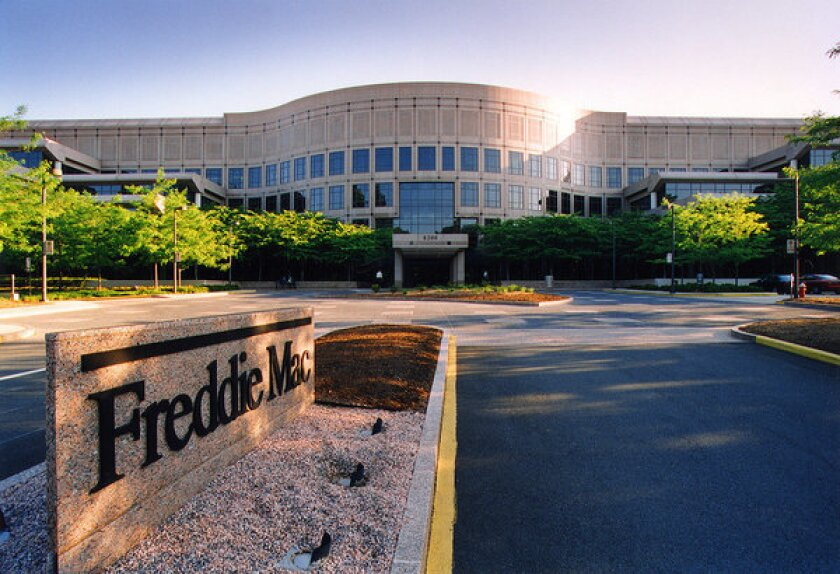 Freddie Mac's McLean, Va., headquarters. The big mortgage buyer says home loan rates eased this week, with the 30-year fixed mortgage at an average of 3.32%