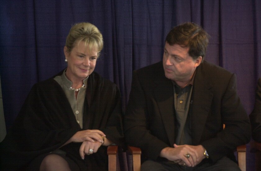 Becky and John Moores were together in November 2002 for groundbreaking of a UCSD cancer center. (2002 file photo / U-T)