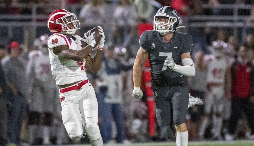 Free safety Jake Newman (7) and St. John Bosco are seeded second in the Southern Section Division 1 playoffs and could get another shot at wide receiver Kody Epps and top-seeded Mater Dei in the championship game.