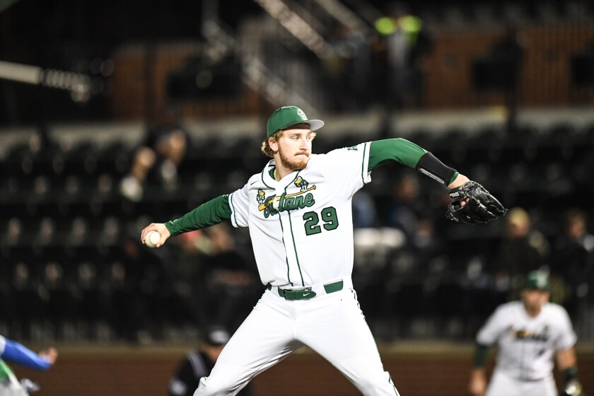 Braden Olthoff delivers a pitch for Tulane earlier this season.