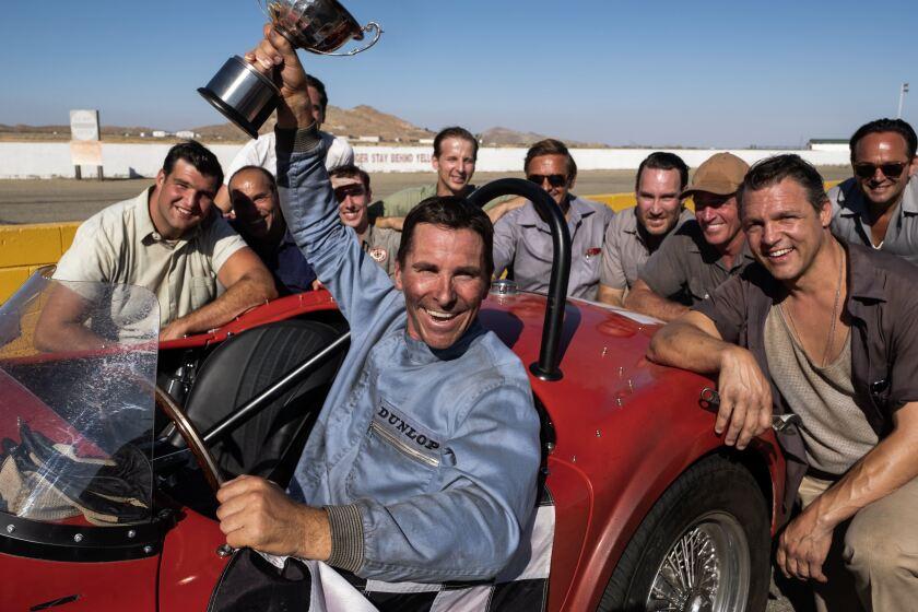 "Christian Bale and Noah Jupe in ""Ford v Ferrari."""