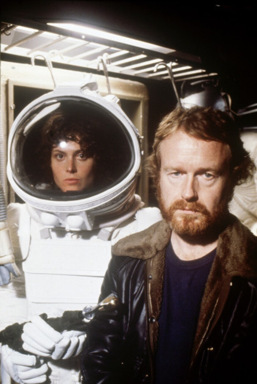 "Actress Sigourney Weaver and director Ridley Scott on the set of ""Alien"""