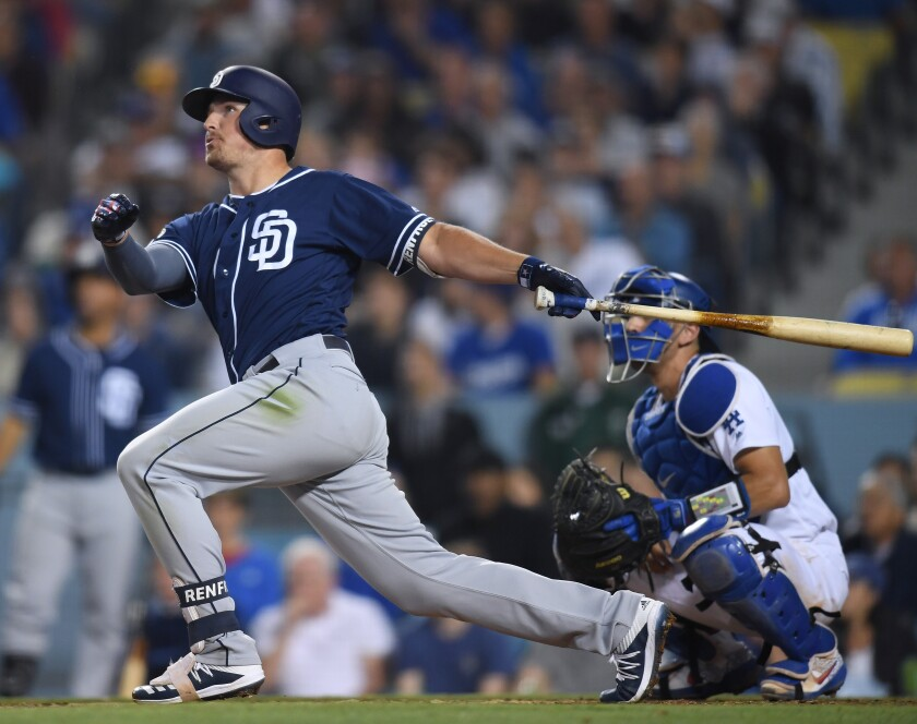 Hunter Renfroe hits a solo home run that gives the Padres a 3-2 lead over the Dodgers on Friday night in Los Angeles.