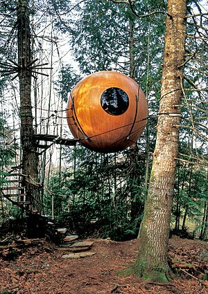 "Pete Nelson is a treehouse guy. His company the Tree House Workshop not only builds them, but he also travels the world finding inspiring homes in the treetops to write about and photograph. In May, his fifth book on the subject, ""New Treehouses of the World,"" hits the stores. Here's a sneak preview. Free Spirit Spheres: Vancouver Island, British Columbia, Canada The treehouse here was originally conceived as a spherical houseboat. It is 10.5 feet in diameter and is suspended by nylon ropes attached to three trees. Click for photos of luxury treehouses of California. For a peek inside cool Southern California homes, go to our Homes of The Times gallery."