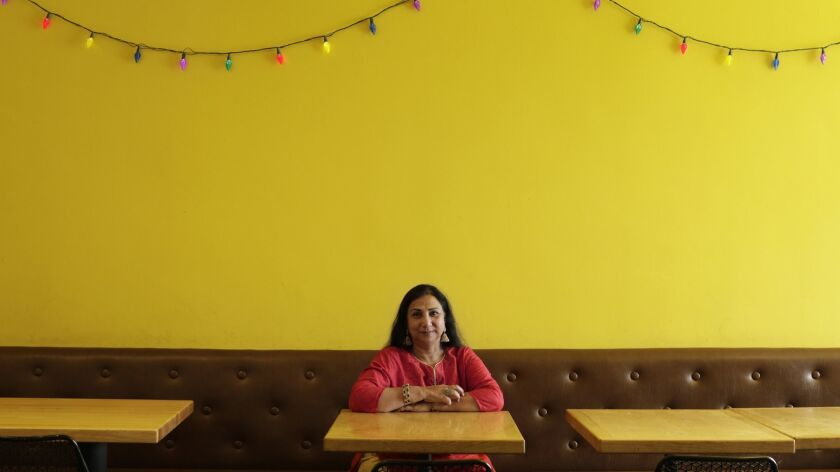 LOS ANGELES, CA -- MAY 10, 2019: Vibha Bhojak is the owner of Samosa House on Washington Boulevard.