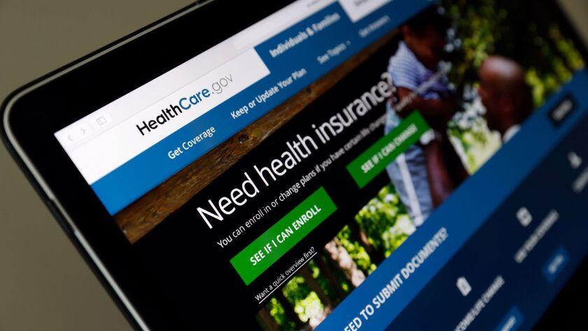 FILE - In this May 18, 2017 file photo, the Healthcare.gov website is seen on a laptop computer, in