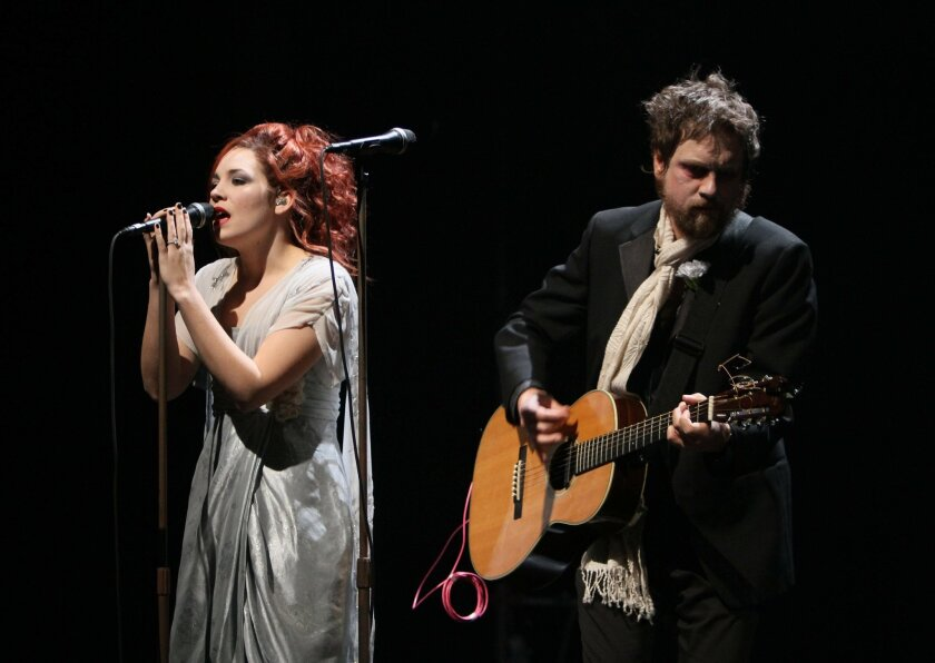"""David Poe and Holly Brook played singing ghosts in the Old Globe's world-premiere production of Duncan Sheik's """"Whisper House."""""""