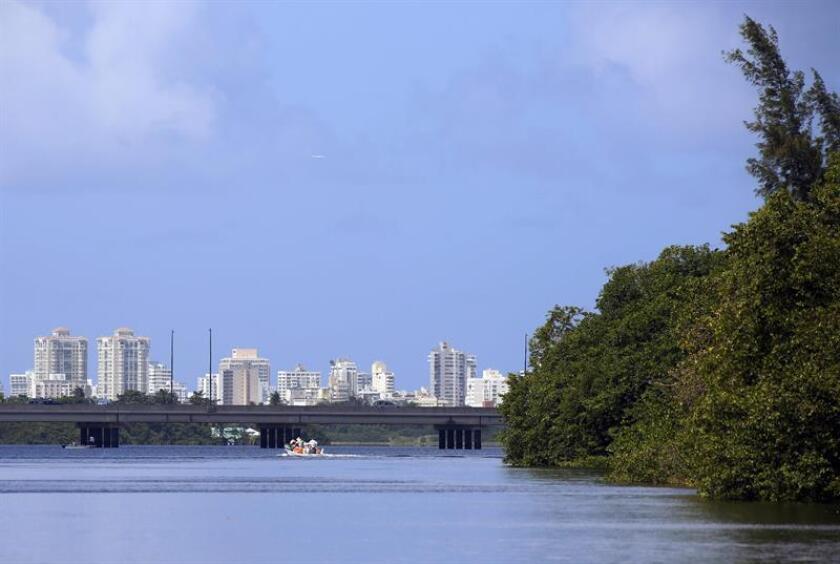 Vista de la Laguna San José con la ciudad de San Juan al fondo, durante un recorrido en bote por las zonas navegables del los canales del Estuario de San Juan. EFE/Archivo