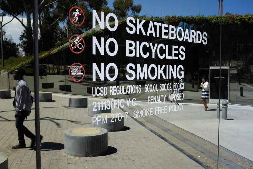 A ban on smoking and all tobacco use went into effect on the UC San Diego campus on Sept. 1.
