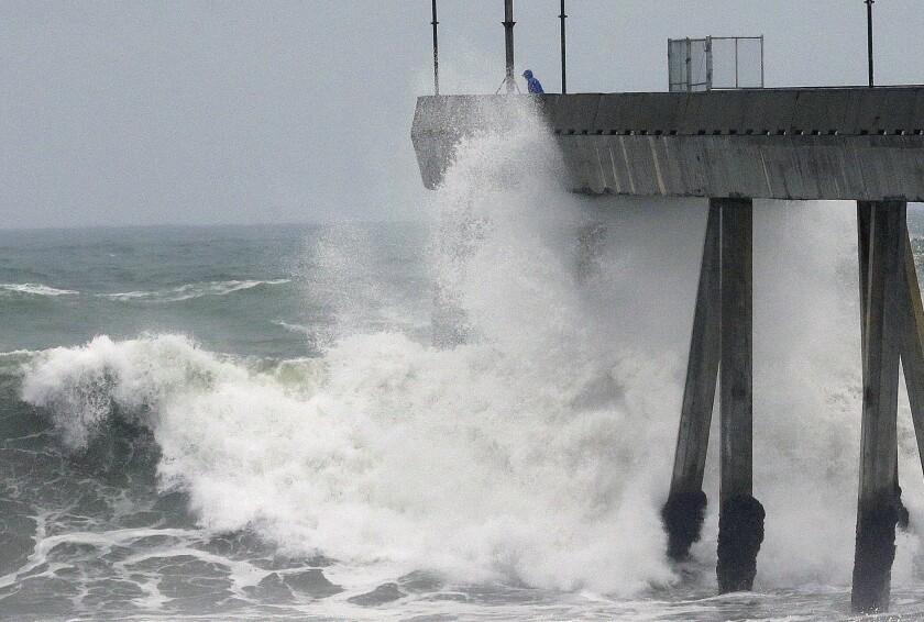 El Nino storms lined up in the Pacific — such as the Pacifica Pier in Pacifica, Calif — promising to drench parts of the West for more than two weeks.