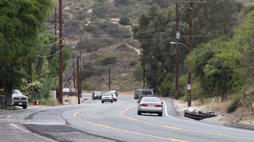 A view from the LCAD parking lot, looking south along Laguna Canyon Road.