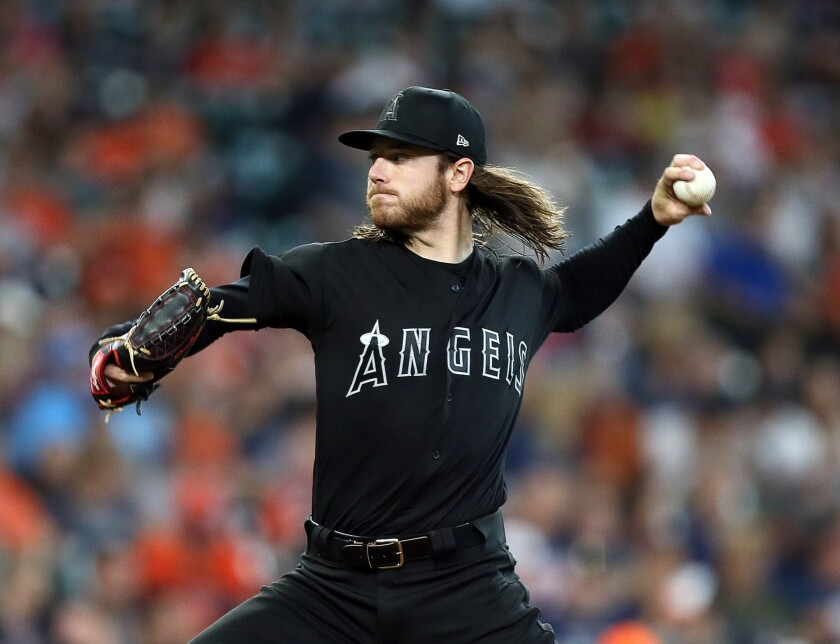 Angels left-hander Dillon Peters pitches against the Astros on Aug. 24, 2019.